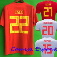 Wholesale Espana Jersey - Thailand camisetas de futbol ASENSIO MORATA ESPANA Spain soccer jerseys world cup 2018 RAMOS INIESTA football shirt Camisa maillot de foot