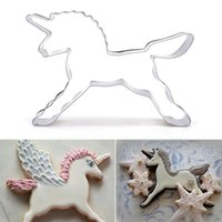 Wholesale baking fruit cakes - Unicorn Baking Moulds Cake Stainless Steel Horse Baking Mould For Kids Baking Tools Biscuit Pastry Fruit Moulds