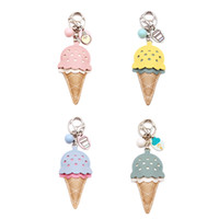 Wholesale cute ice cream accessories online - New Fashion Style PU Leather Ice Cream Keychain Keyring Lovely Cute Creative Key Ring Key Chain Bag Pendant Gifts Mixed Colors