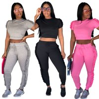 Wholesale sexy hot night suit for sale - Group buy Spring Summer Suits Hot Fashion Crop Top Two Sets Irregular Side Lace Decoration Sexy Night Club Tracksuit S XL Size