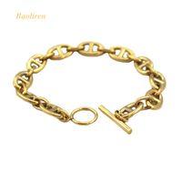 cadena de letras h al por mayor-Baoliren acero inoxidable mayúscula H Link oro color cadena bisagra pulsera para el amante