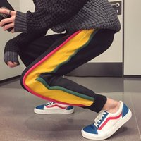 Wholesale Sweaters Korea - wind autumn and winter new rainbow harem pants men loose warm thick pants Korea sweater tide Free shipping