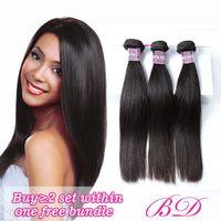 Wholesale loose wave human hair unprocessed - BD Hair Brazilian Body Wave Straight Loose Wave Human Hair Bundles Double Weft Unprocessed Virgin Human Hair Extension Natural Color Deals