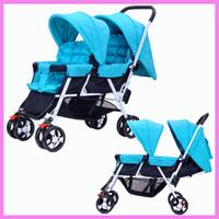 Wholesale kinderwagen stroller - Twins Baby Stroller Foldable Kinderwagen 2 In 1 Double Stroller for Twins Can Sit Flat Lying Umbrella By Baby Pushchair Pram