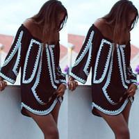 calzoncillos para vestidos cortos al por mayor-2018 mujeres sexy vestido de ropa de verano informal off slash hombro fiesta playa negro casual breve suelta vestido corto moda dama
