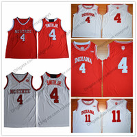 Wholesale Indiana Jersey - NC State Wolfpack #4 Dennis Smith Jr. Red Jersey Indiana Hoosiers Victor Oladipo 11 Isiah Thomas White Stitched College Basketball Jerseys