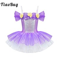 tutu glänzend großhandel-TiaoBug Mädchen Shiny Verstellbaren Trägern Off Schulter 3D Blumen Ballett Kleid Kinder Gymnastik Trikot Ballerina Dance Tutu Kleid