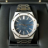 Wholesale royal blue watch online - 2018 Hot Sale AAA Luxury Watch For Men Automatic movement Blue dial ROYAL OAK series mens watch sapphire Stainless Steel mens watches
