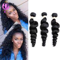 Wholesale buy remy human hair - Brazilian Loose Wave Bundles Natural Black Hair Weave Extensions 100% Human Hair Bundles Remy Can Buy 3 Bundles Machine Double Hair Weft
