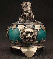 Wholesale jade talisman - SUPERB DECORATED HANDWORK OLD COPPER JADE CARVED LION WONDERFUL INCENSE BURNER