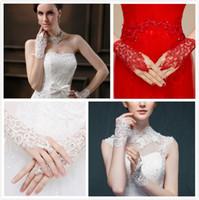 Wholesale elegant mature woman - Fashion Elegant Bride Wedding Diamond Lace Finger Ring Short Gloves Noble Mature Sunscreen Lace Gloves Women's