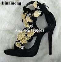 yaprak topuklu toptan satış-Lüks moda yaprakları ile Zip Siyah Zarif tatlı kadın Mikrofiber parti Elbise düğün Ince Topuklar Kristal Kapak Topuk sandalet