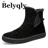 botas de invierno antideslizantes al por mayor-Belyqly Winter Cow Suede Hombre Botas de nieve Estilo de tendencia juvenil Corto de felpa Mantener las botas calientes para hombre Slip On Shoes Envío gratis