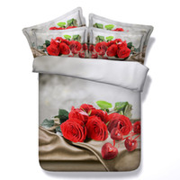 Wholesale romantic bedding duvet sets resale online - 3D red rose Duvet Cover romantic bedding sets queen floral Bedspreads Holiday Quilt Covers Bed Linen Pillow Covers for women girls teens