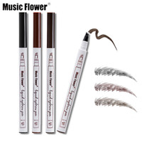 Wholesale fine flowers - Music Flower Makeup Fine Sketch Liquid Eyebrow Pencil Waterproof Tattoo Super Durable Smudge-proof Eye Brow Pen