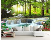 papel para jardinería al por mayor-Murales de pared 3D fondo de pantalla personalizado cuadro mural papel de pared Simple casual árbol verde bosque cascada paisaje herramientas de pared papeles decoración para el hogar
