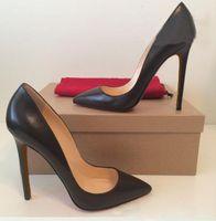 ingrosso tacchi neri scarpe nere-Scarpe da donna di marca Scarpe Donna Scarpe con tacco alto rosso Scarpe a spillo Stiletti neri opachi Linee di pelle di pecora scarpe da sposa donna 8cm 10cm 12cm + scatola