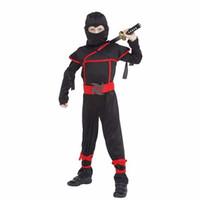 yıl boyu kostümü toptan satış-Çocuk Süper yakışıklı Boy Çocuk siyah ninja savaşçı kostümleri Noel Günü Yeni Yıl Purim Cadılar Bayramı partisi oyunu hediye