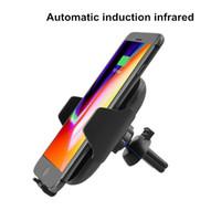 iphone luftentlüftung großhandel-Drahtloses Auto-Ladegerät Schnelles Ladegerät Automatisches Infrarot-Induktions-Auto-Ladegerät 10W Luft Vent Auto-Telefon-Halter für iPhone für Samsung