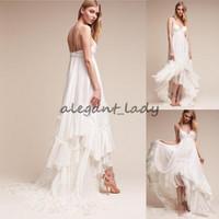 Wholesale high low style vintage wedding dress online - Ivory Summer Beach Bridal Gowns Spaghetti Straps Boho Wedding Dress New Arrival Bohemian High Low Style Cheap Wedding Dresses