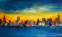 Wholesale skyline oil resale online - YJ ART chicago skyline Unframed Modern Canvas Wall Art for Home and Office Decoration Oil Painting Animal painting Frame painting
