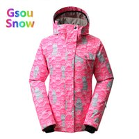 сноубординг лыжная одежда оптовых-2017 Gsou Sonw Outdoor Sports Winter Women Lattice Snowboarding Warmer Ski Jackets Stripes Waterproof Wave point Skiing Clothing