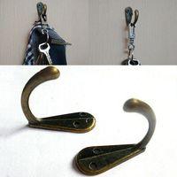 gancho para colgar la ropa al por mayor-Robe Hooks Tone Bronze Metal Coat Hook Bag Clothes Hanging 2 Holes Hook Single Home Accesorios de baño Free DHL WX9-437