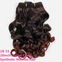 siyah kıvırcık saç toptan satış-Brezilyalı saç demetleri İtalyan kıvırcık sentetik saç örgüleri 20 inç ombre renk ombre kahverengi kadınlar için sentetik örgü saç tüm