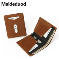 Wholesale horse skin wallet online – custom High quality New Top Quality Genuine leather Wallet Men Money Clip Mini Wallets Male Vintage Style Brown Crazy horse skin Purse