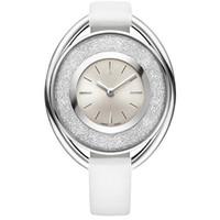 relojes populares para las mujeres al por mayor-2018 popular Casual Rolling cristal Dial mujeres reloj negro blanco rojo reloj de pulsera de cuero dama relojes famosa marca vestido reloj envío gratis