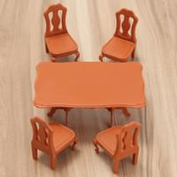 conjunto de sillas de comedor al por mayor-1 unid Al Por Mayor Dropshipping MOONBIFFY DIY Miniatura Muebles Mesas De Comedor Sillas Conjuntos Para Mini Casa De Muñecas Miniaturas Muebles