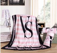 véu rosa venda por atacado-140/200 Kintting Cobertores Rosa VS Secret Cobertor Manta Coral Cobertor de Lã Sofá / Cama / Avião Mantas de Viagem Toalha Swaddle Sleeper