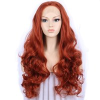 lange wellige haarperücken großhandel-Rot Orange Synthetische Spitzefrontseitenperücke Freies Teil Lange Wellenförmige Spitzeperücken Für Frauen Hochtemperaturfaser Synthetische Haarperücke Freies Verschiffen