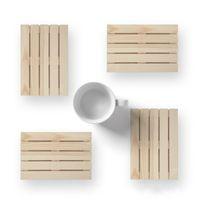 Wholesale Natural Environmental - Tableware Pad Natural Environmental Tea Cup Mats Original Design Anti Scald Wooden Non Slip Kitchen Palette Coasters 4 8yk X