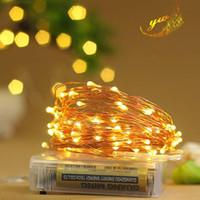 ingrosso rame di luce della stringa della batteria-10M 100 LED Filo di rame a led con corde per fiammifera Modello di batteria per la decorazione natalizia