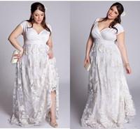 Wholesale wedding dress colorful flowers skirt online - Plus Size A Line Lace Wedding Dresses V Neck D floral lace garden Bridal robe de soiree Formal Party Dresses Gown Lady Women