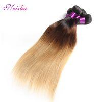 12 inç ombre saç uzantıları toptan satış-Ombre T1b / 4/30 Düz İnsan Saç Ombre 8-28 inç 3 Demetleri Perulu Brezilyalı Hint Ombre Saç Uzatma Ücretsiz Kargo