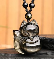 Wholesale Fox Chinese - Beautiful Natural Gold Obsidian Carved Handmade Chinese Cute Fox Lucky Amulet Pendant + free Beads Necklace Fine Jewelry
