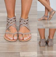 Wholesale Roman Leather - Flat Heel Clip Toe Hollow Out Roman Ankle Sandals Flip Flops Chunky Heels Beach Shoes LJJO4676