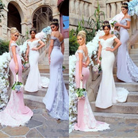 Wholesale ruffle ivory lace western dress for sale - Group buy 2019 Western Stretchy Mermaid Bridesmaid Dresses Lavender Off Shoulders Lace Appliqued Sweep Train Bridesmaids Wedding Guest Gowns BC0213