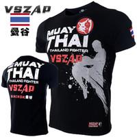 halbe hülsent-shirts für männer großhandel-2018 neue t-shirt homme VSZAP Muay Thai Fitness kurzarm Männer T-shirt MMA Kampf Tragen Wrestling t-shirt Half-Sleeve Kleidung