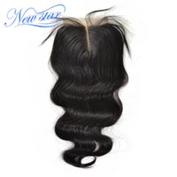 цвет волос оптовых-New Star Hair Peruvian Body Wave Lace Middle Part Closures 4''x4'' Swiss Lace Natural Color Virgin Human Hair With Baby