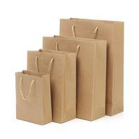 sacos de compras segurados do papel marrom venda por atacado-10 Sacos De Papel Kraft Sacos De Papel Saco De Presente com Alça de Papel Marrom Saco De Compras em Estoque