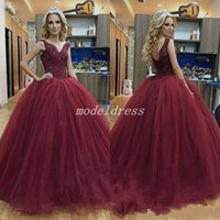 white dresses for sweet 15 Australia - Princess Burgundy Ball Gown Quinceanera Dresses 2018 V Neck Backless Appliques Beaded Prom Party Gowns For Sweet 15 vestidos de 15 anos