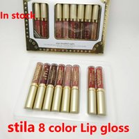 ingrosso lucidi a stella-Disponibile! Hot Stila Star holiday Limited Matte kit rossetto Long Lasting Lip Gloss Makeup Professional Liptstick 8pcs / set DHL LIBERA il trasporto