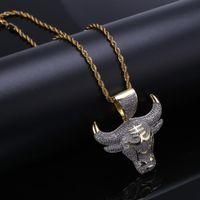 ochsenhalskette großhandel-Neue Hip-Hop-Anhänger Miniatur Zirkone Ochsenkopf Muster Persönlichkeit Halskette Schmuck