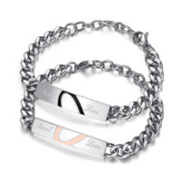 Wholesale Titanium Fishing Hooks - 1 Pair Hot Titanium steel couple bracelet men love women's fashionable titanium steel jewelry free shipping