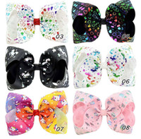 Wholesale Cartoon Ribbon Hair Clips - 8 Inch Baby Girls Hair Accessories Cartoon Hearts Unicorn Hairpins Infants Ribbon Big Bows with alligator Clips Kids Boutique Hairbows