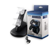 kontrolör oyun sahası toptan satış-Playstation LED Çift USB Şarj Dock Dağı Şarj Standı Ile Kablosuz PS4 XBOX ONE Gamepad Oyun Kontrolörleri Için Tutucu Paketi DHL