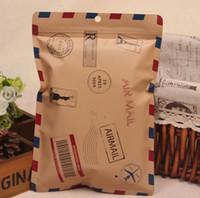 Retro envelope design zipper Aluminum Foil Reclosable Bag for Underwear Underpants Storage Mylar Foil Zipper Packaging Bag